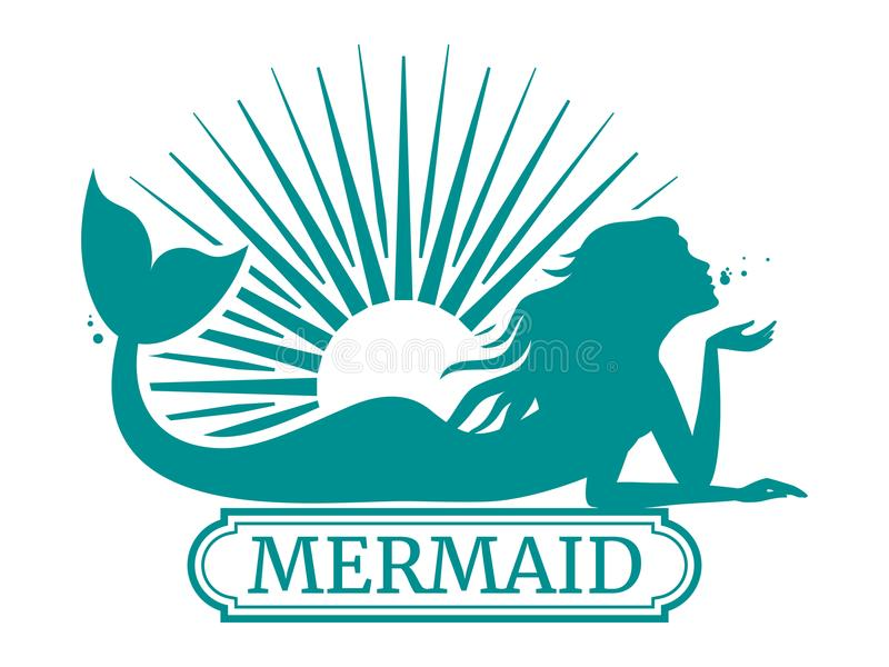 Mermaid silhouette and sun label design. Isolated on white. Vector illustration vector illustration