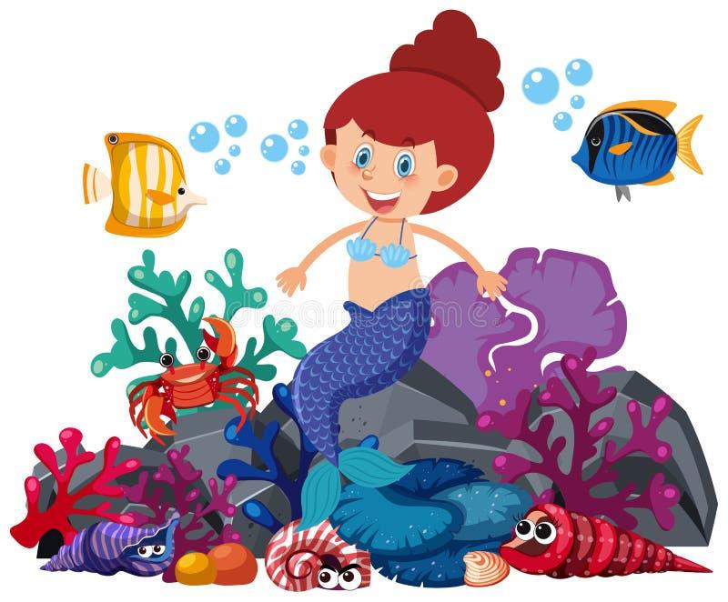 Mermaid sitting on rock with fish swimming around. Illustration vector illustration