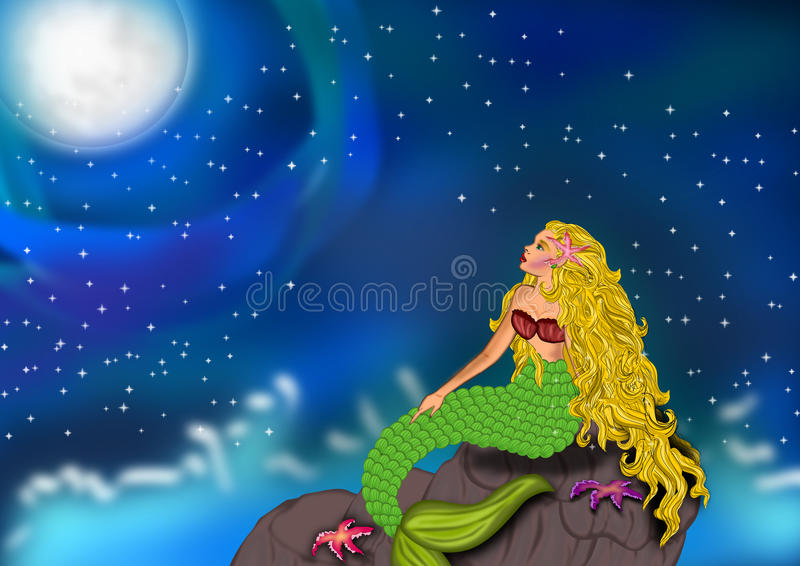 Mermaid staring at the night sky. Illustrations of beautiful mermaid sitting at the rock staring at the stars and the moon