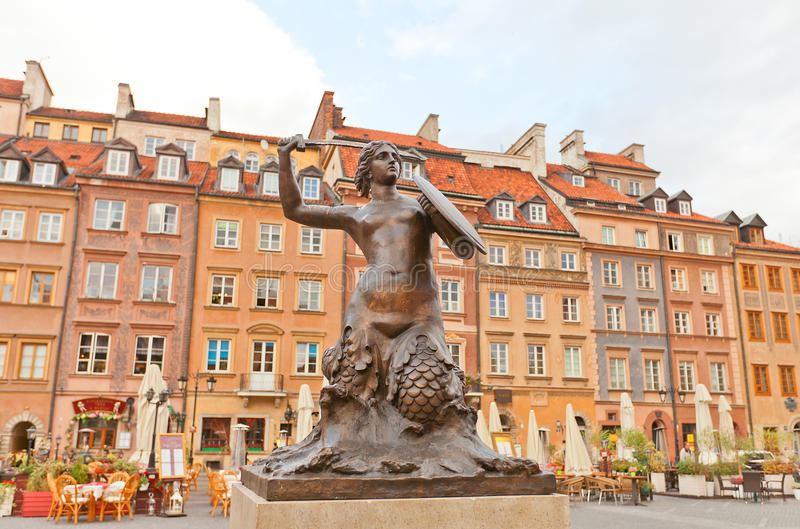 Mermaid statue of Old Town Market Place. Warsaw, Poland stock photo