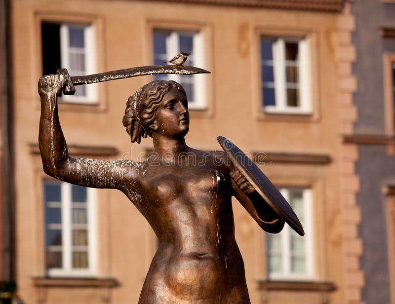 Mermaid Statue Warsaw royalty free stock photo