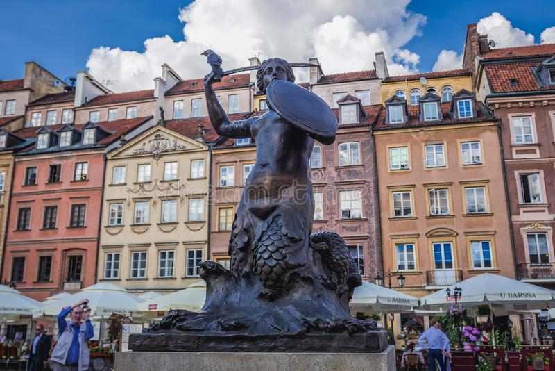 Mermaid statue in Warsaw royalty free stock photography