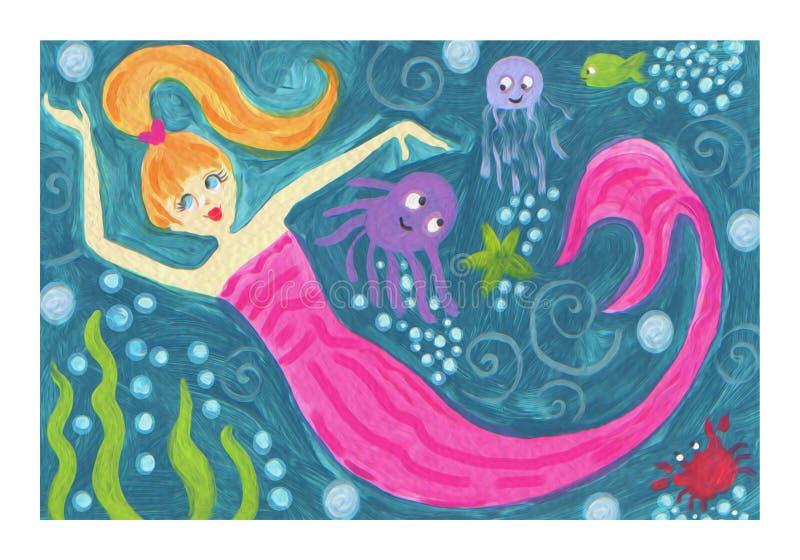 Mermaid surfer riding waves mermaid fantasy ocean watercolor art. Mermaid ocean scene with octopus starfish crab fish bubbles fun wave texture original art vector illustration