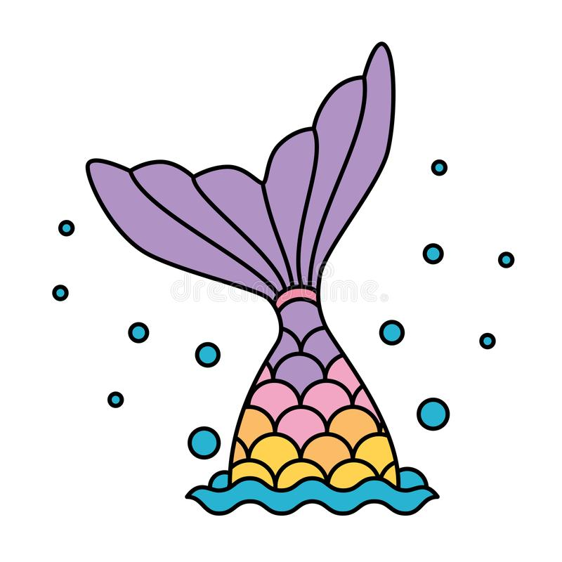 Mermaid tail rainbow pastel colorful jumping to water bubbles stock illustration