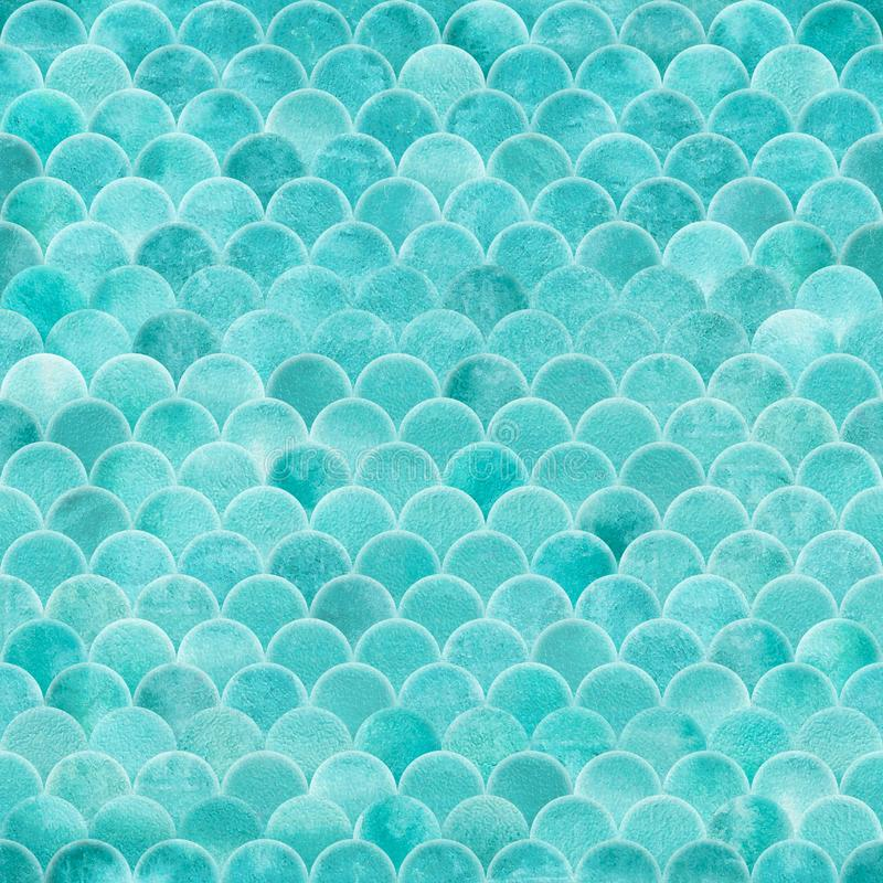 Seamless fish scale seamless pattern in turquoise color royalty free stock photo