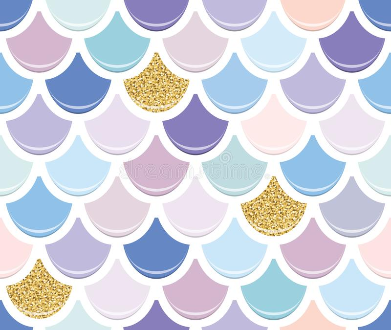Mermaid tail seamless pattern with gold glitter elements. Colorful fish skin background. Trendy pastel pink and purple stock illustration