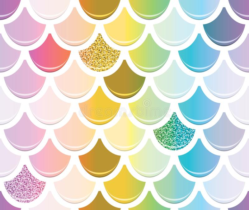 Mermaid tail seamless pattern with gold glitter elements. Trendy scale background. Multicolored. royalty free illustration