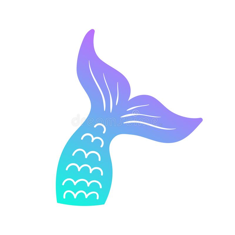 Mermaid tail vector graphic illustration. Hand drawn teal, turquoise, blue and purple, violet mermaid, fish tail vector illustration