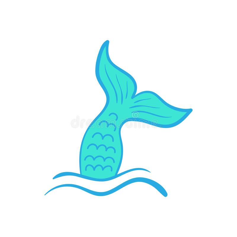 Free Mermaid Tail Vector Hand Drawn Illustration Stock Photography - 122440622