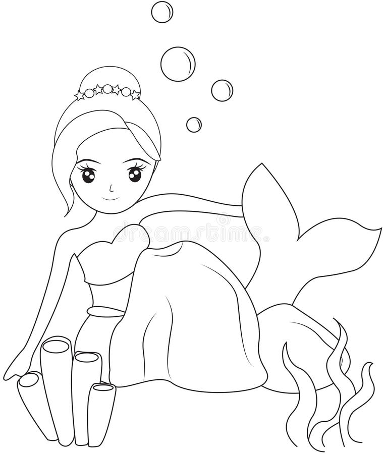 Mermaid Under The Sea Coloring Page Stock Illustration ...