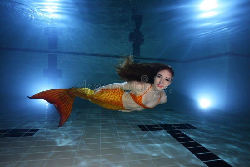 Mermaid underwater. Mermaid swimming underwater in the pool stock image