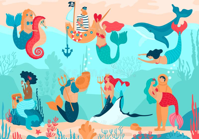 Mermaid vector cartoon beautiful girl princess and merman living underwater in ocean with sea animals whale and seahorse royalty free stock photo