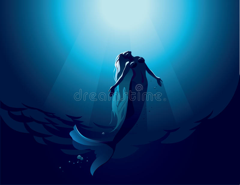 Mermaid. Vector illustration of a beautiful mermaid in water depth