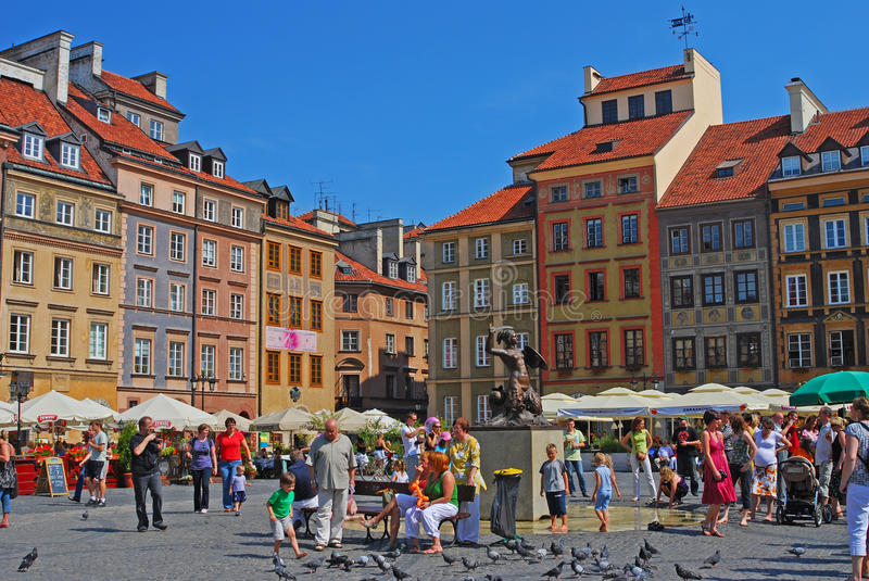 Mermaid of Warsaw in the middle of Warsaw Old Town Market Place royalty free stock photo
