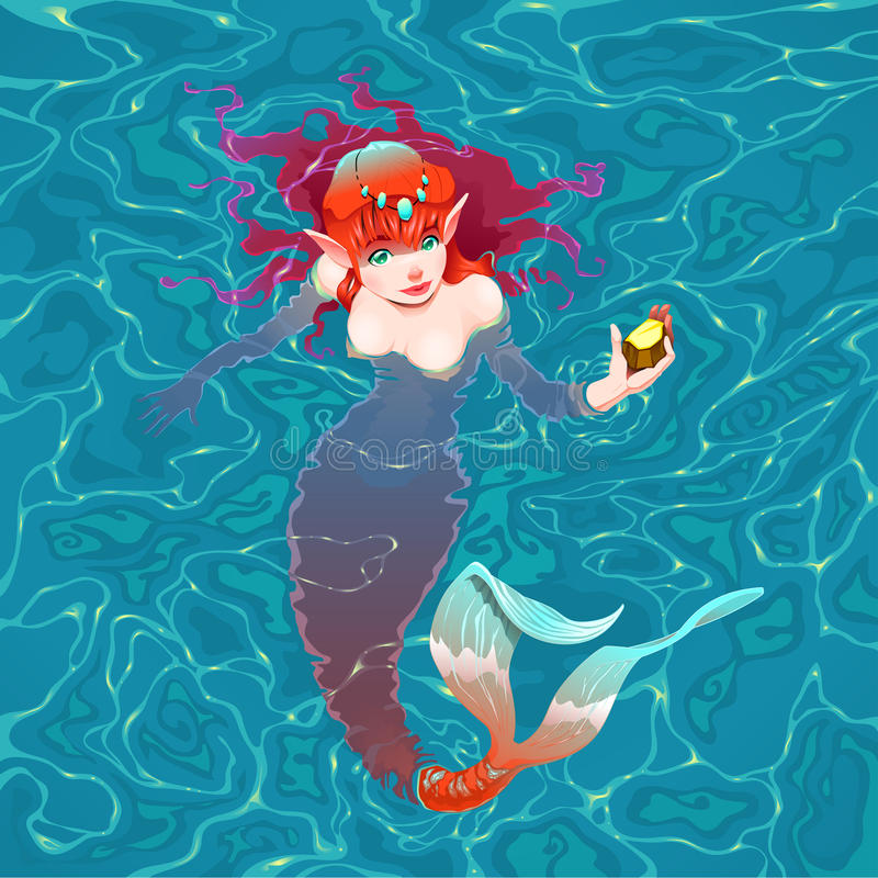 Mermaid in the water with a piece of gold. stock illustration