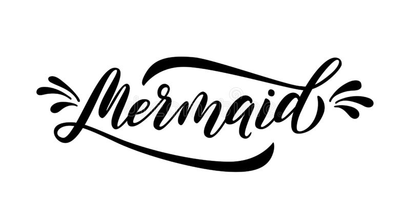 Mermaid word with splash. Cute handwritten text and drops graphic print for tee, shirt, poster. Vector illustration. Mermaid word with splash. Cute handwritten stock illustration