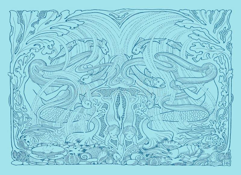 Mermaids плавая форзацы девушок сбора винограда иллюстрация штока