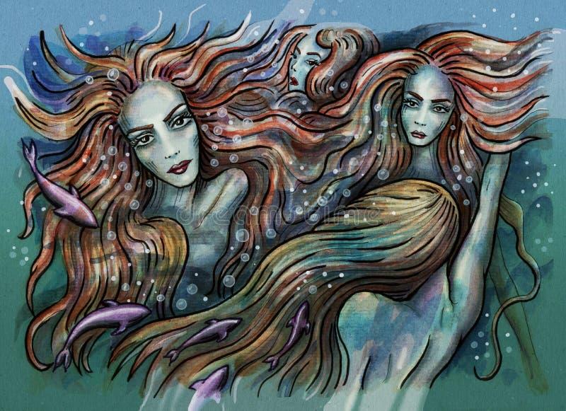 mermaids Русалки плавая под водой иллюстрация штока