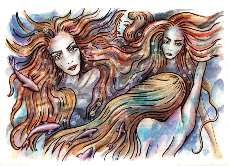 mermaids Русалки плавая под водой иллюстрация вектора