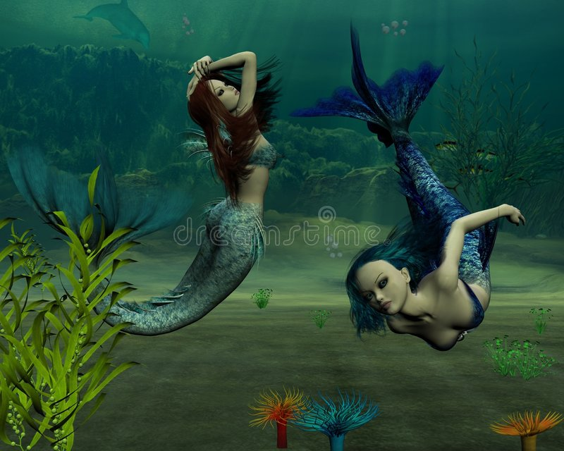 Download Mermaids - 1 stock illustration. Illustration of female - 5509003