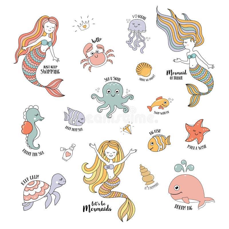 Mermaids cartoon characters with cute sea animals vector set vector illustration