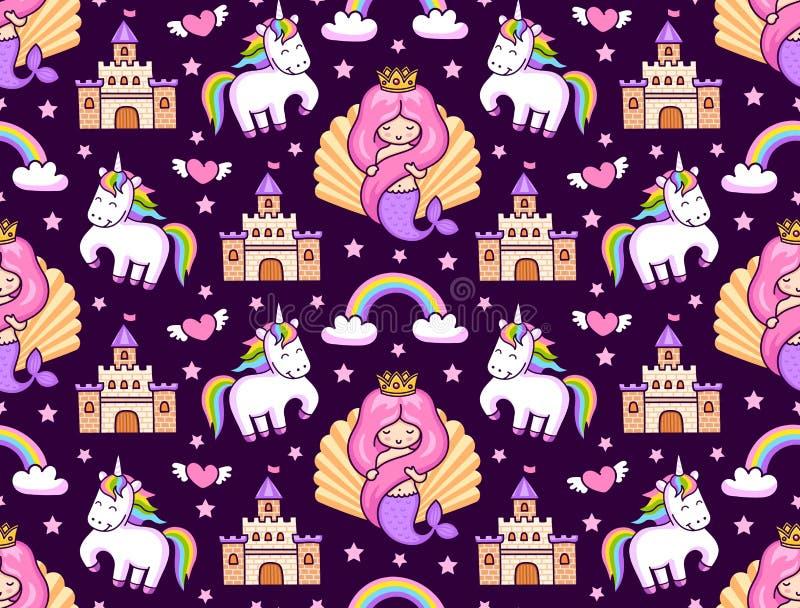 Mermaids, magic unicorns, rainbow and castle. stock images