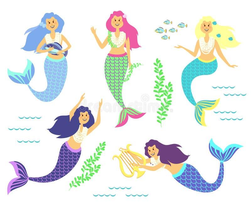 mermaids Piccole ragazze sveglie Mondo subacqueo Mare, oceano Fantasia, fiaba Illustrazione sveglia di vettore per i bambini royalty illustrazione gratis