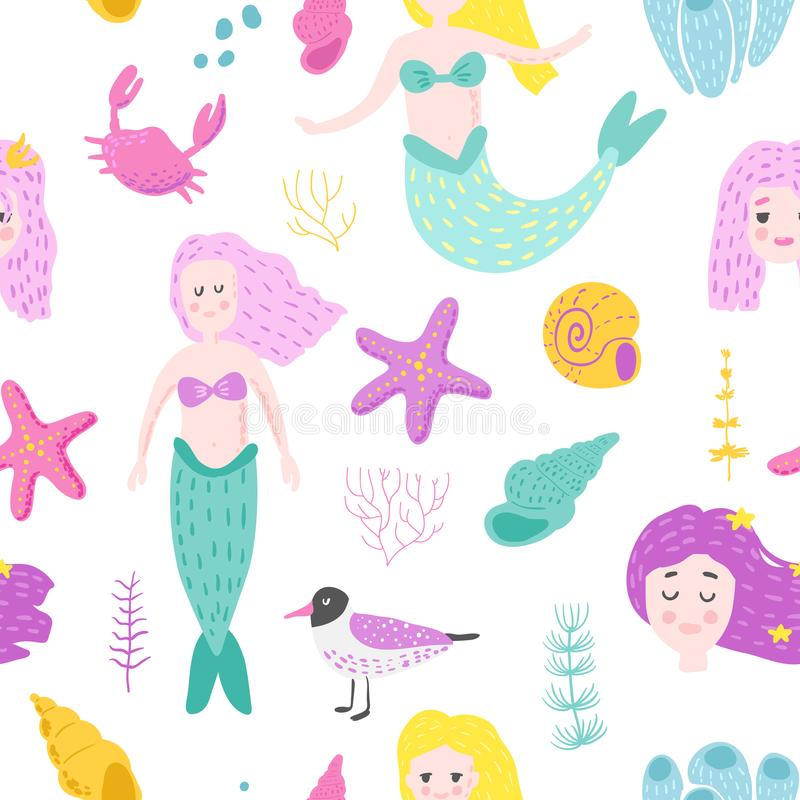 Mermaids Seamless Pattern in Childish Style stock illustration