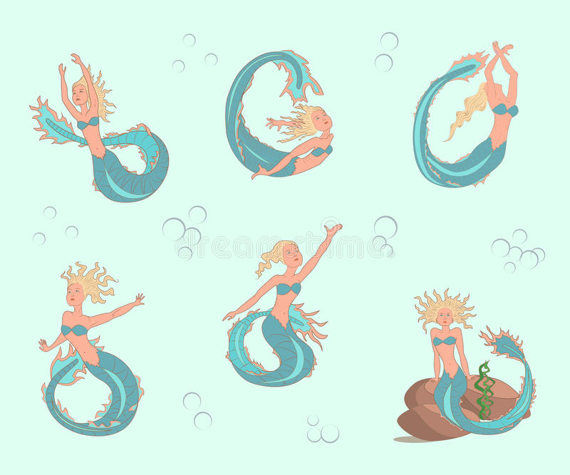 Mermaids set. In cartoon style, suitable for children's fairy tales, coloring pages. Vector illustration. eps10 vector illustration