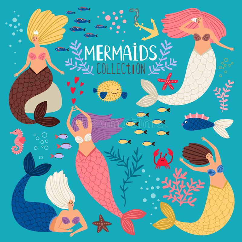 Mermaids set. Mermaid princess, ocean girl scrapbook elements, vector bikini summertime swimming pretty sirens with fish stock illustration