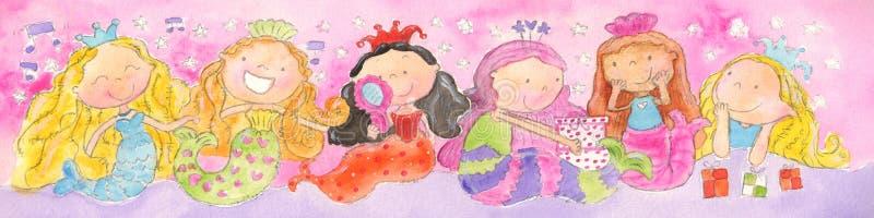 mermaidssingin royaltyfri illustrationer
