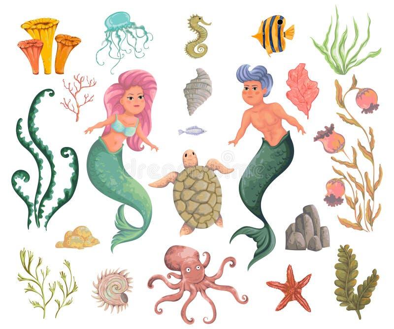 Merman, θαλασσίων φυτά γοργόνων, και ζώα Διακοσμητικά στοιχεία σχεδίου συλλογής Χλωρίδα και πανίδα θάλασσας κινούμενων σχεδίων στ διανυσματική απεικόνιση