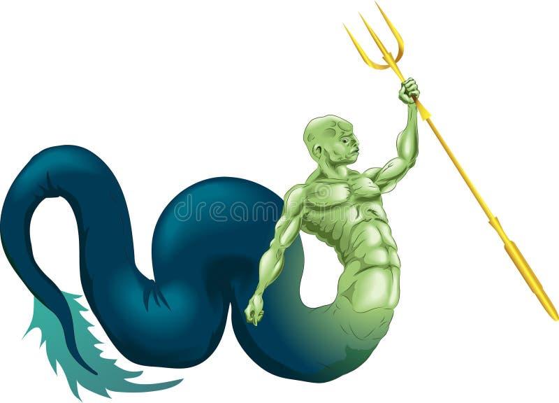 Download Merman or Poseidon stock vector. Image of wildlife, green - 4242274