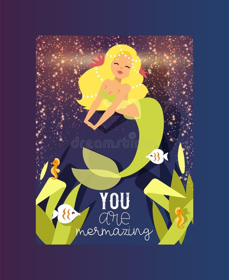 Mermazing l'illustrazione di vettore del manifesto Sirena ed alga e piante sveglie Ragazze della sirena di estate con gli accesso illustrazione di stock