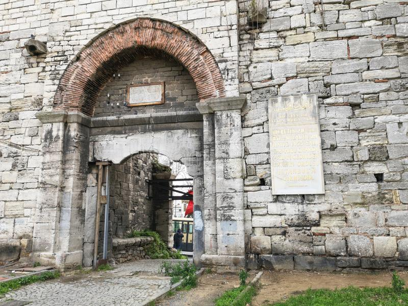 'Mermerkule port 'på kustvägen i Yedikule, 'Bukoleon slottport 'som öppnas till den bysantinska slotten, arkivbild