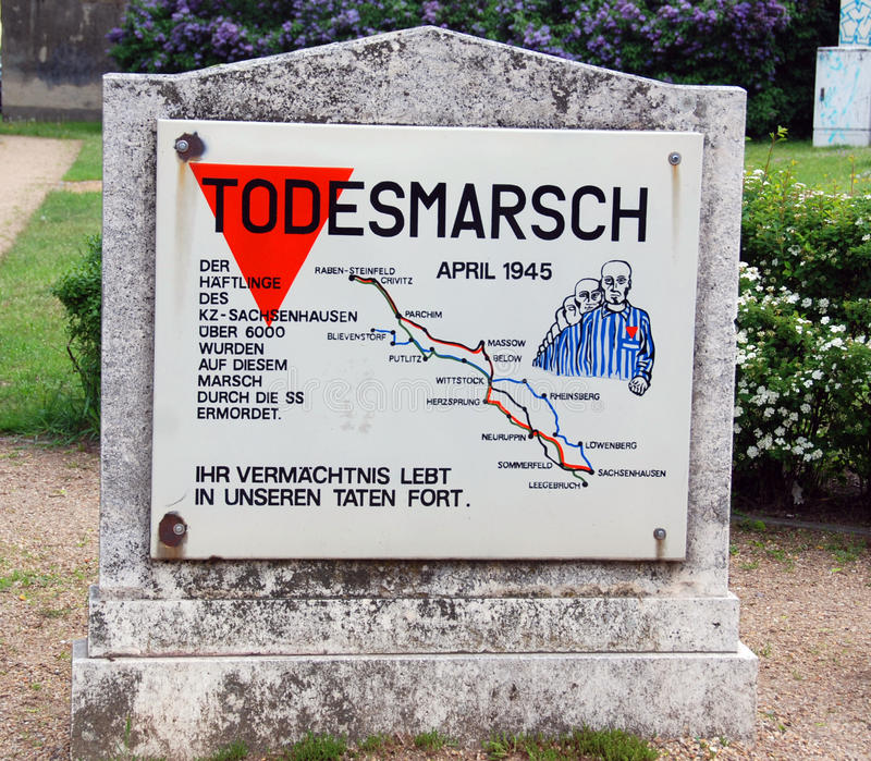 Mermorial on death march. SACHSENHAUSEN ORANIENBURG, GERMANY MAY 24: Mermorial on death march in of thousands of prisoners, mostly Jews, from Nazi concentration stock photos
