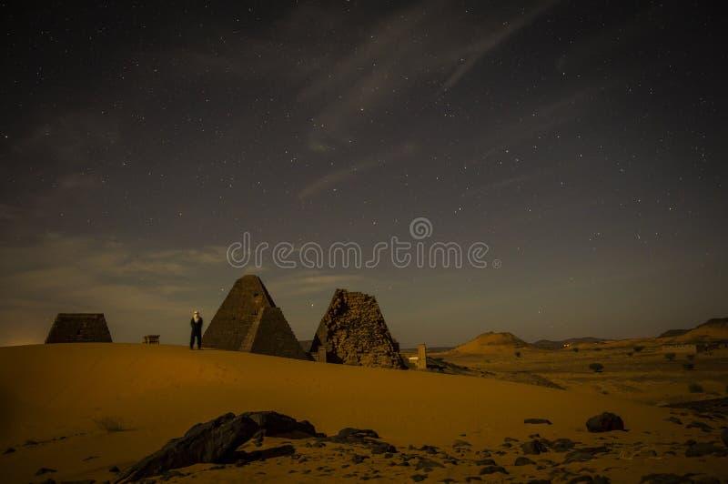 Meroe金字塔在苏丹 免版税库存图片