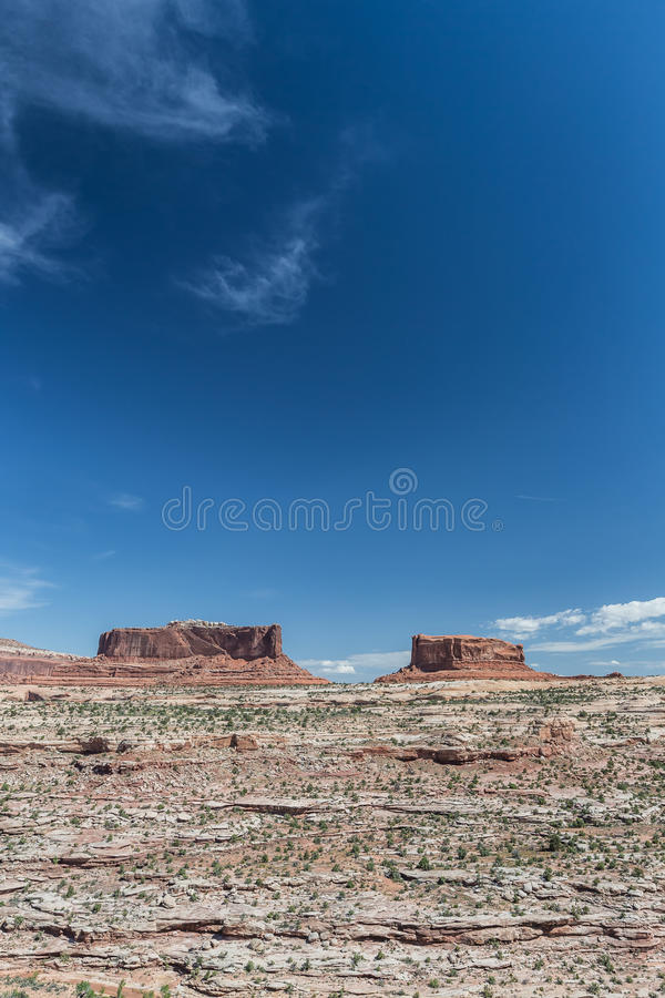 Merrimacbutte en Monitorbutte in het Nationale Park van Canyonlands royalty-vrije stock foto