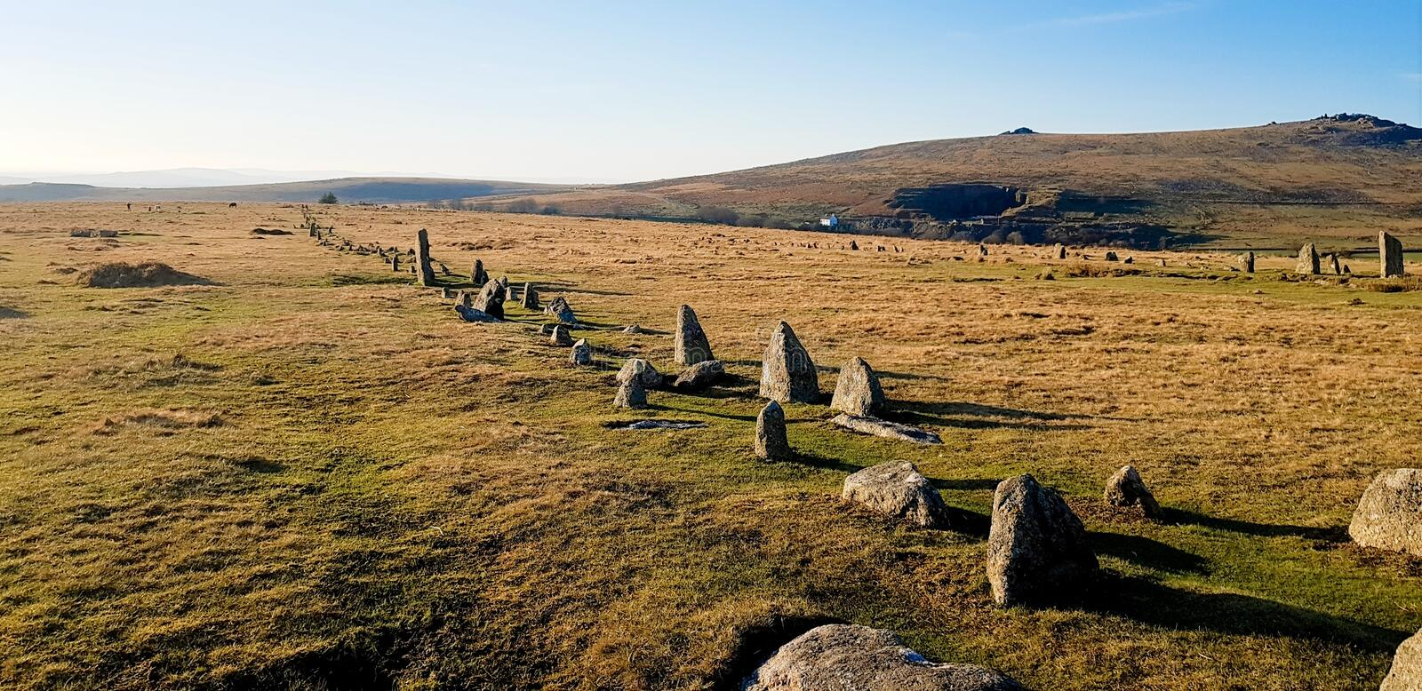 The Merrivale ceremonial Stones , Dartmoor. Merrivale includes many of the archaeological features associated with the Neolithic to Middle Bronze Age & x28 stock images
