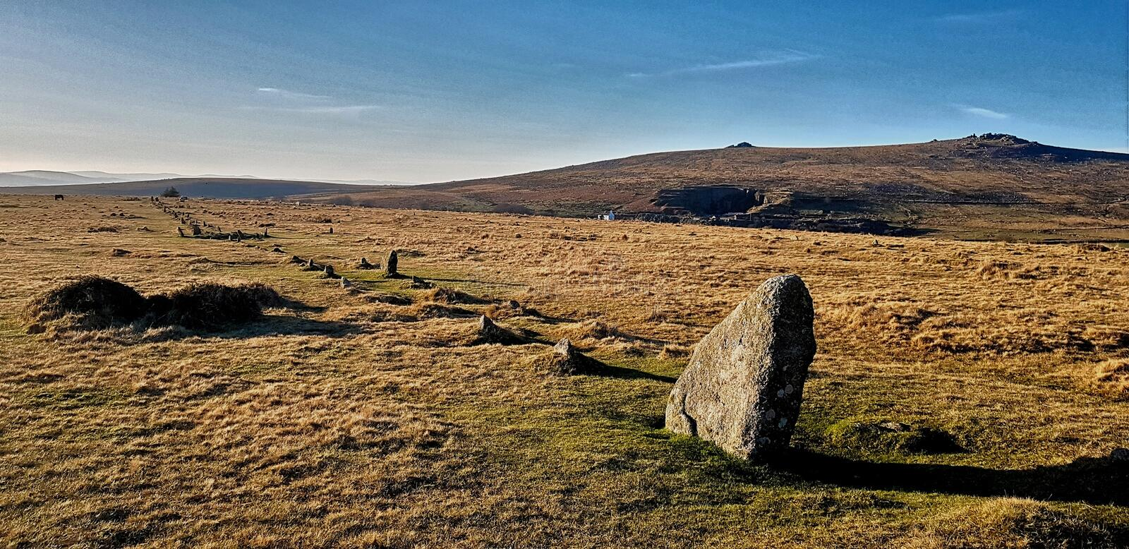 The Merrivale ceremonial Stones , Dartmoor. Merrivale includes many of the archaeological features associated with the Neolithic to Middle Bronze Age & x28 royalty free stock image