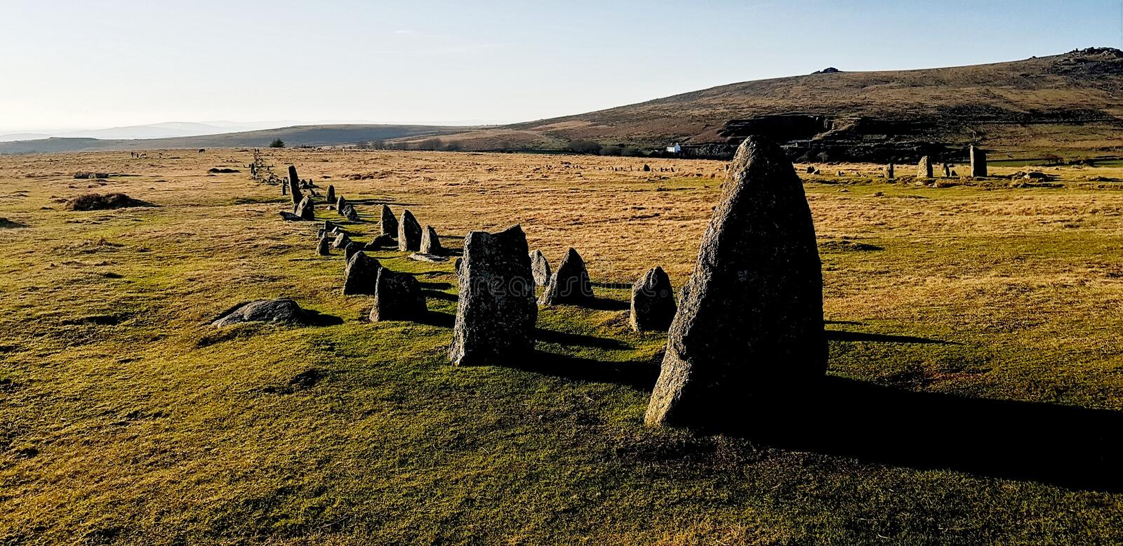 The Merrivale ceremonial Stones , Dartmoor. Merrivale includes many of the archaeological features associated with the Neolithic to Middle Bronze Age & x28 royalty free stock images