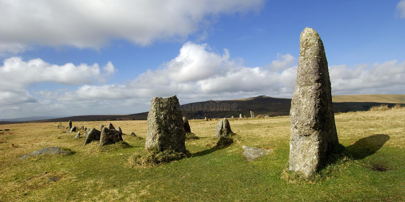 Merrivale stone row on dartmoor royalty free stock image
