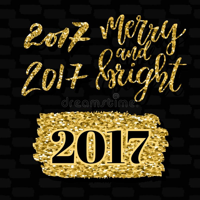 Merry and bright lettering and numbers 2017. Golden elements design set. Vector illustration. Christmas greeting card royalty free illustration