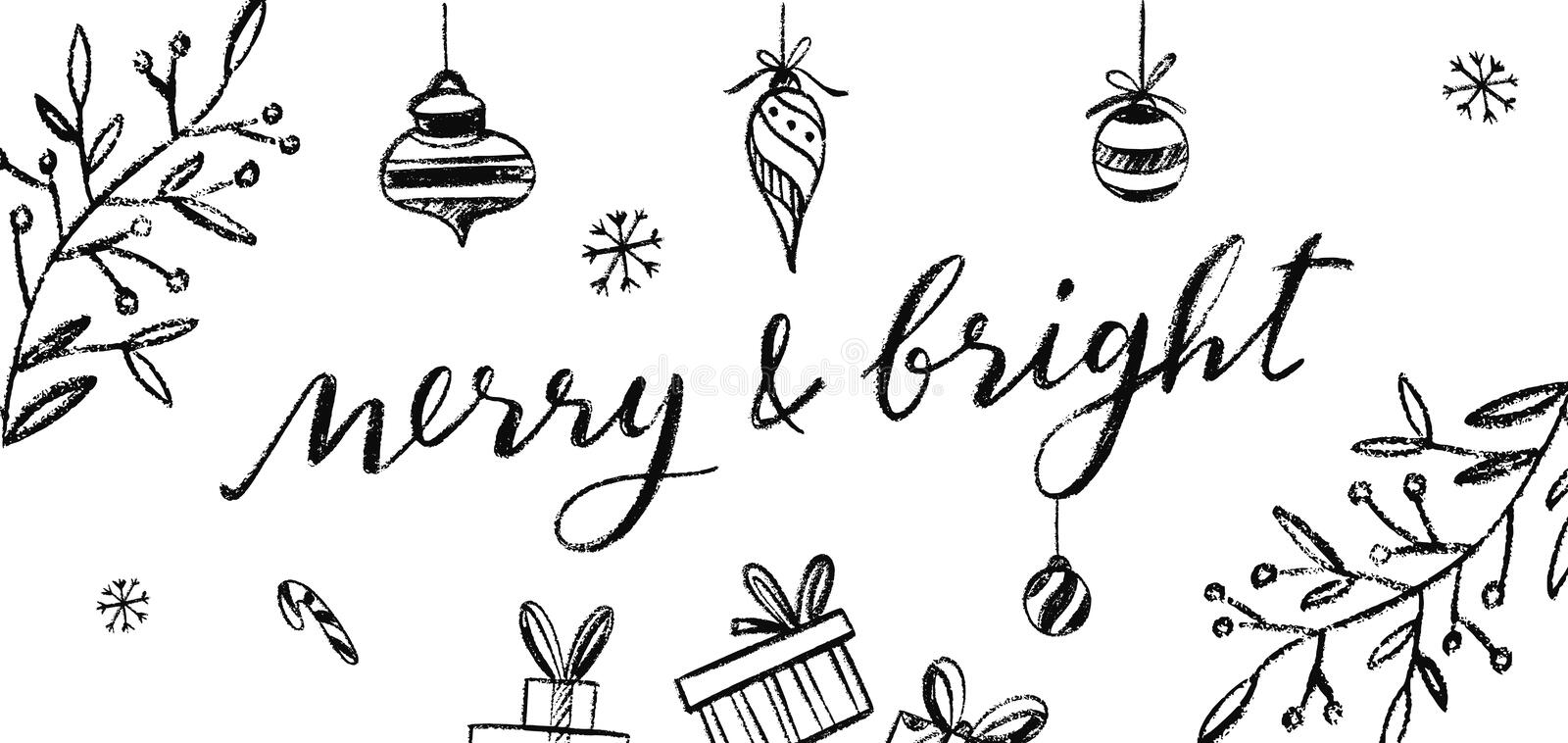 Merry and Bright vector Postcard. Chalkboard Lettering royalty free illustration