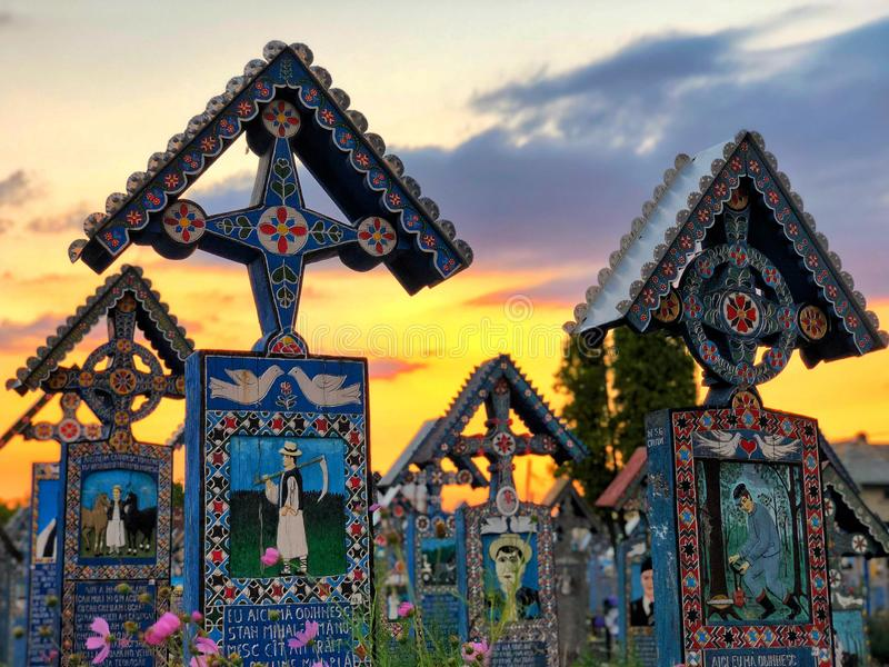 Merry Cemetery that is one of landmark in Maramures Region in Romania stock photography