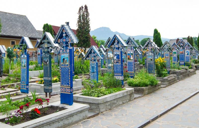 The merry cemetery,Sapanta, Maramures royalty free stock image