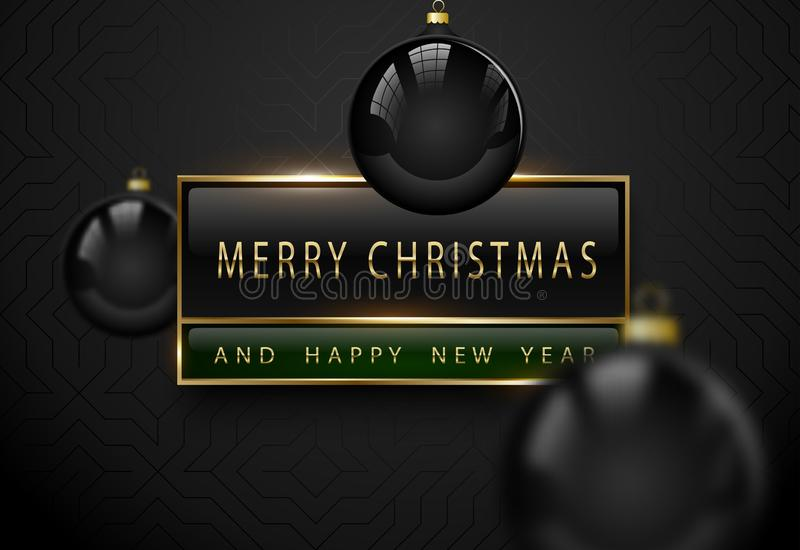 Merry Chistmas and happy new year luxury banner. Golden text, black green rectangular label frame banner. Dark geometric pattern royalty free illustration