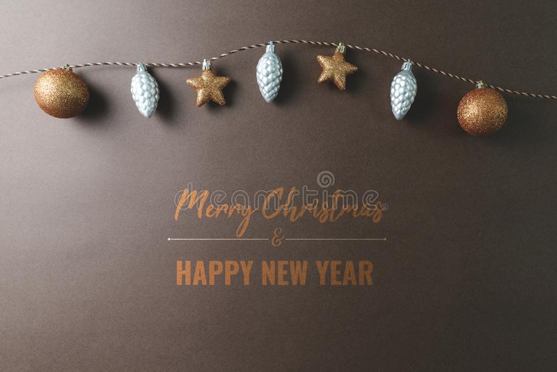 Merry Chrismas and Happy New Year, christmas ball hanging on the background stock photos