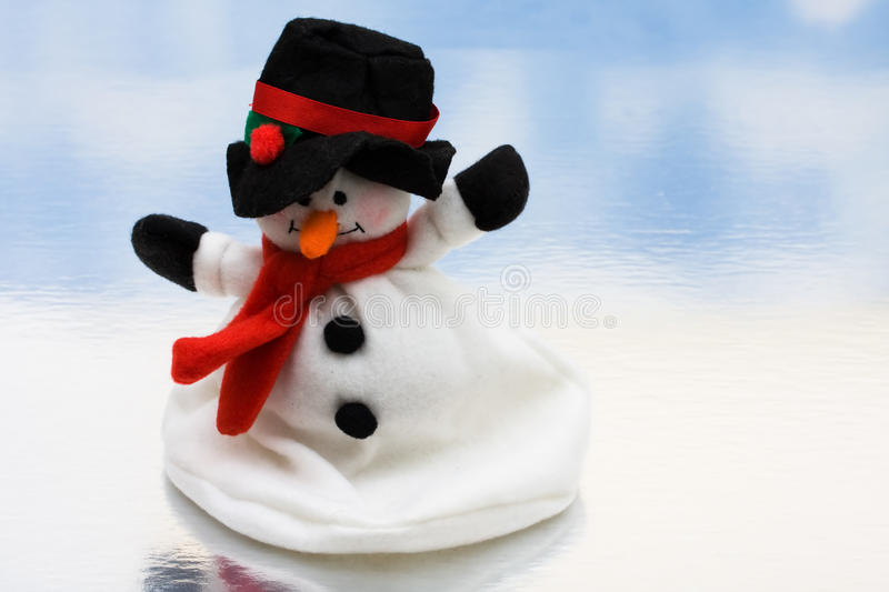 Merry Christmas. Snowman on a shiny background, Merry Christmas royalty free stock photography