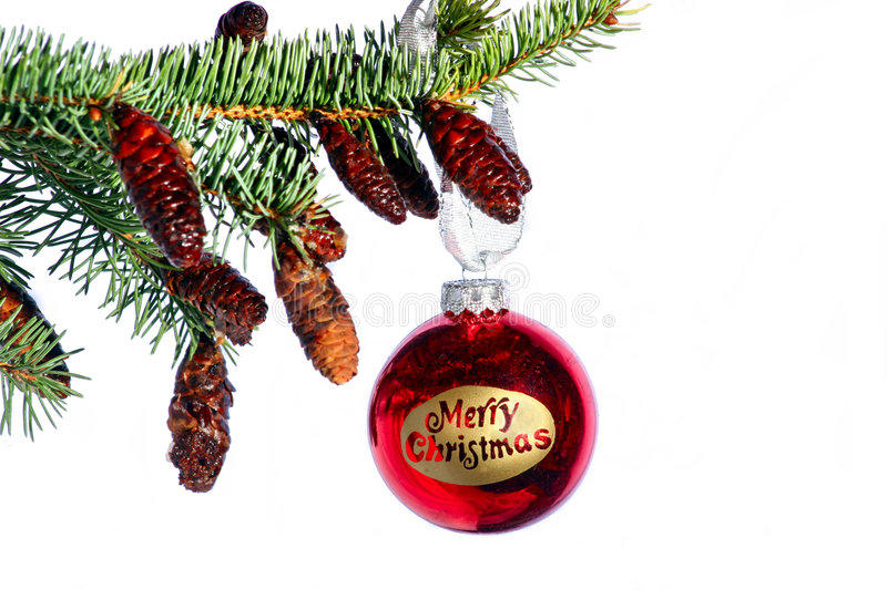 Merry christmas. Written on a decorated bulb stock photo